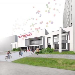 Arhitektuuribüroo Allianss Arhitektid tehtud Vaba Lava Narva teatrikeskuse tulevase hoone eeleskiis.