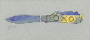 Eduard Wiiralt. Taskunuga. Pliiats, akvarell, paber, 1918.