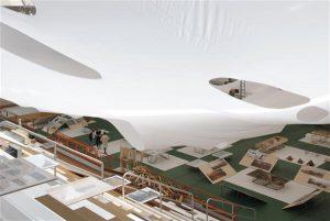 Aukartustäratav kangainstallatsioon annab ruumile intiimsuse, koondades näituse madala lae alla.  Augud kangas suunavad nägema seoseid ekspositsiooni osade vahel.