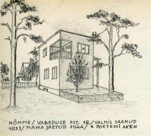 Artur Adsoni joonistus nende Nõmme kodust.