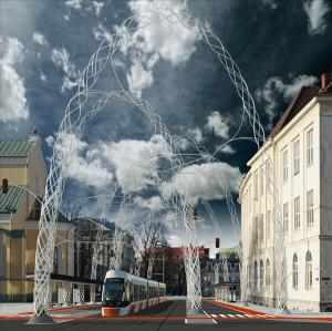 """II preemia vääriliseks tunnistatud töös """"Selgroog"""" on muutused kavandatud laia pintsliga. Kõige jõulisem on peatänavat palistav metallist kaarestik, mis kannab trammikaableid ja valgusteid. Töö autor on Villem Tomiste."""
