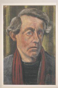 Johannes Niemeyer. Autoportree punase salliga. Pastell, 1949.