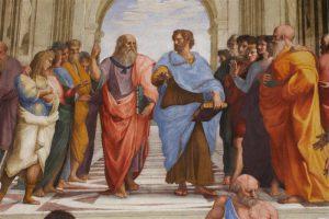 """Detail Raffaeli freskost """"Ateena kool"""" Vatikani muuseumis. Kesksed kujud on Platon (vasakul) ja Aristoteles, kelle ümber on Apollo ja Ateena kuju ette kogunenud filosoofe, luuletajaid, õpetlasi ja kunstnikke."""