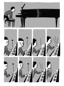 Lehekülg Joonas Sildre valmivast koomiksiraamatust, mis räägib  Arvo Pärdist.