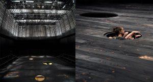 Maret Tamme on jaotanud black box'i  maapealseks ja lavaaluseks ruumiks.