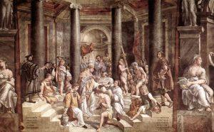 Keisrist kõrgemal on jumalik seadus, mida keisergi peab järgima. Pildil Constantinus I ristimine. Rafaeli koolkonna töö (1483–1520).