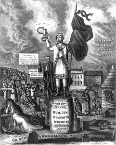 John Warner Barber. Kuningas Alkohol ja tema peaminister. Gravüür, XIX sajand.
