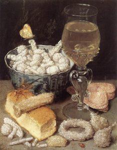Georg Flegel. Natüürmort leiva ja maiustustega. Õlimaal, XVII sajandi I poolest.