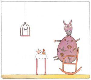 """Piret Raua illustratsioon raamatule """"Roosi tahab lennata"""", 2013.Autori omand"""