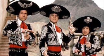 """Enamuse eesti leviturust jagavad ära kolm suurt tegijat (Acme Film, Vaata Filmi ja Hea Film), väikelevitajatele jääb ülejäänud paari protsendi jahtimine. Kaader filmist """"Kolm sõpra"""" (""""¡Three Amigos!"""", John Landis, 1986)"""