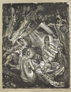 Pargis piknikku pidavad seltskonnad, kes ühismeedias oma hääli jagavad ja valimiskastide juurde ei vaevu minema, ei ohusta eriti ühtegi võimule pääsenud ringkonda. Richard Kaljo. Piknik. Puugravüür, paber, 1940.